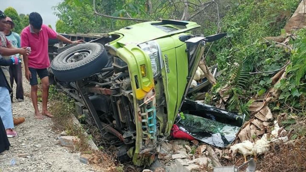 Mobil Bermuatan Ayam Potong Tergelincir di Jalan Trans Sulawesi Kolaka Utara