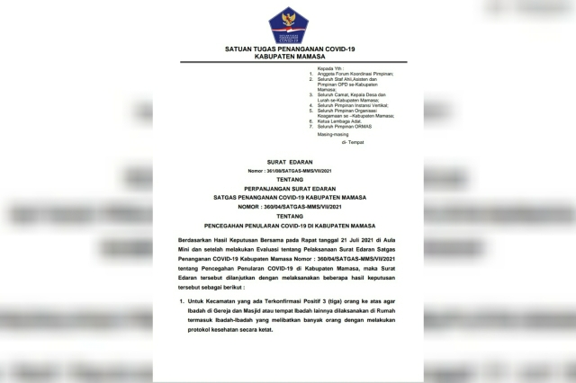 Surat edaran Satgas Covid-19 Kabupaten Mamasa